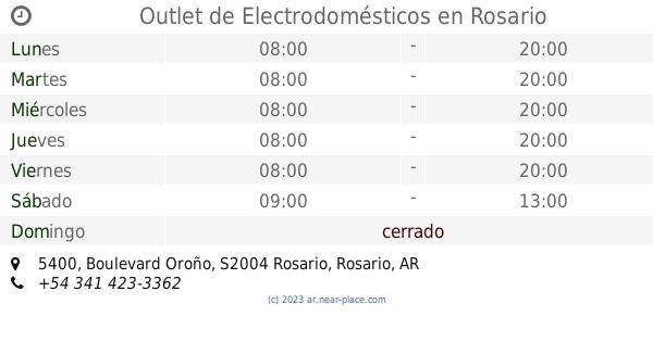 3514b8f956 🕗 Outlet de Electrodomésticos Rosario horarios, 5400, Boulevard Oroño,  tel. +54 341 423-3362