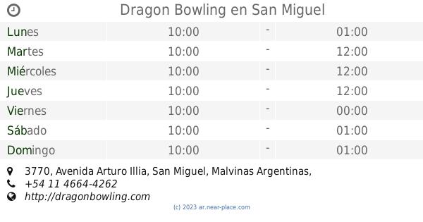 Dragon Bowling San Miguel Horarios 3770 Avenida Arturo