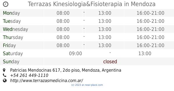 Terrazas Kinesiologia Fisioterapia Mendoza Opening Times