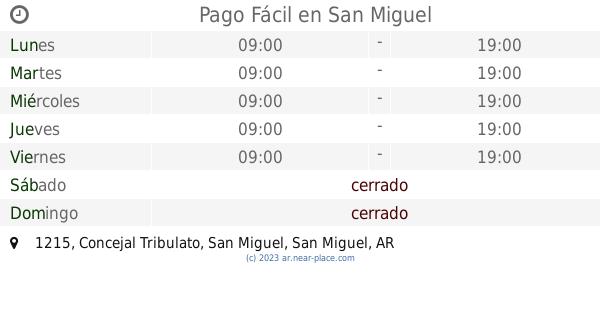 Pago Fácil San Miguel Horarios 1215 Concejal Tribulato